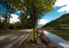 Landbouwgrond en weg Royalty-vrije Stock Afbeeldingen