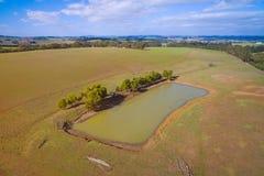 Landbouwgrond met dam in Australië Stock Afbeeldingen