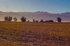 Landbouwgrond in vroege ochtendgloed tegen bergen royalty-vrije stock foto's