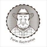 Landbouwillustratie Portret van een mens in een hoed royalty-vrije illustratie