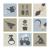 Landbouwmachinepictogrammen Stock Afbeelding