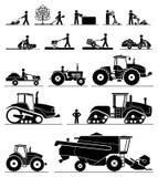 Landbouwmechanisatiepictogrammen royalty-vrije illustratie