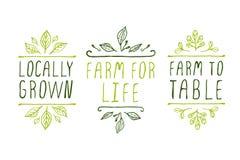 landbouwproduct etiketten royalty-vrije illustratie