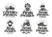 landbouwproducten, etiketreeks De landbouw, landbouwembleem of pictogram Van letters voorziende Vectorillustratie royalty-vrije illustratie