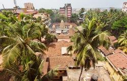 Landcape av den indiska staden med palmträd och taket för röda tegelplattor och högväxta byggnader Royaltyfri Bild