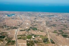 Landcape för flyg- sikt för Muscat arabisk stad royaltyfri fotografi
