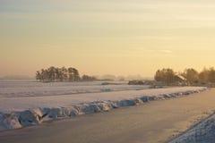 Landcape gelé au coucher du soleil Image libre de droits