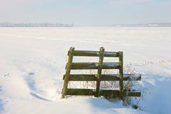 Landcape gelé avec la petite porte Images stock