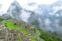 Landcape of Machu Picchu in Peru. This photo is taken in Machu Pichu Heritage in Peru. Machu Picchu stands 2,430 m above sea-level, in the middle of a tropical Stock Photo