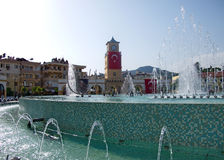 Landcape of Marmaris Downtown with fountain, Turkey Stock Image