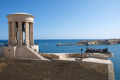 Landcape of Medieval Valletta and the fort St Angelo, Malta. Landcape of Medieval Valletta, Malta. There are protective walls and the fort of St Angelo Stock Photography