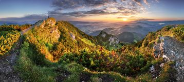 Landcape of mountain at sunset panorama from peak Velky Choc, Slovakia royalty free stock image