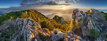 Landcape of mountain at sunset panorama from peak Velky Choc, Slovakia.  royalty free stock image