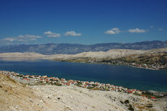 Coastal Landscape with Houses. View of Coastal Village next to the Bay of Croatian Island Royalty Free Stock Image