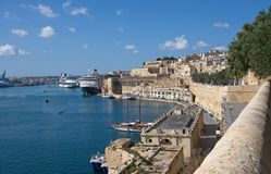 Landcape of the port and Medieval buildings of Valletta, Malta Royalty Free Stock Photo