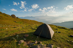 Landcape with tent in mountain Royalty Free Stock Image