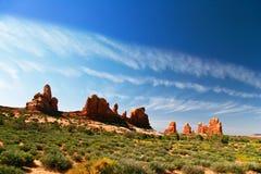 Landcape of Uta. Red rocks under  the blue sky. Arches National Park Stock Photos