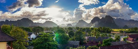 Landcape view panorama in Vang Vieng at Laos.  Royalty Free Stock Photography