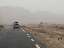 Landcruiser in desert, Tunisia Stock Images