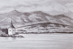 Landcsape scenery with lake, chapel and mountains, pencil drawing. Royalty Free Stock Images