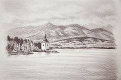 Landcsape scenery with lake, chapel and mountains, pencil drawing. Royalty Free Stock Image