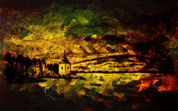 Landcsape scenery with lake, chapel and mountains, pencil drawing, magical color effect. Stock Photo