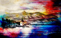 Landcsape scenery with lake, chapel and mountains, pencil drawing, magical color effect. Royalty Free Stock Photos