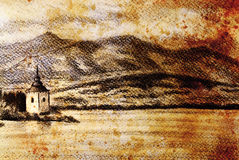 Landcsape scenery with lake, chapel and mountains, pencil drawing, vintage effect. Royalty Free Stock Images