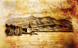 Landcsape scenery with lake, chapel and mountains, pencil drawing, vintage effect. Stock Image