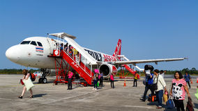 Landed AirAsia plant at Loei airport thailand Royalty Free Stock Images