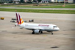 Landed Plane. A German Wings plane had landed at Stuttgart Airport Stock Photos