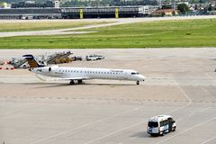 Landed Plane. A Lufthansa plane had landed at Stuttgart Airport Royalty Free Stock Images