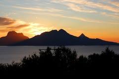 landegode norway över solnedgång Royaltyfria Foton