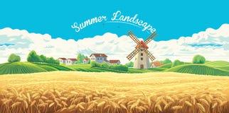 Landelijk de zomerlandschap met molen royalty-vrije illustratie