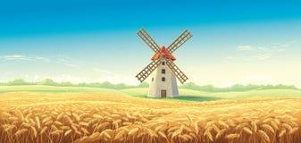 Landelijk de zomerlandschap met windmolen royalty-vrije illustratie