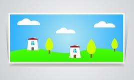Landelijk eco schoon milieu van de landschapsillustratie Royalty-vrije Stock Afbeeldingen