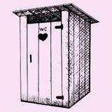 Landelijk houten in openlucht toilet Stock Fotografie