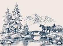 Landelijk idyllisch landschap stock illustratie