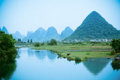 Landelijk landschap in China Yangshuo Stock Foto