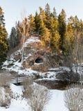 Landelijk landschap in de winter Stock Foto's