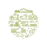 Landelijk landschap en landbouw die dunne lijnpictogrammen bewerken stock illustratie