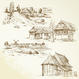 Landelijk landschap, landbouw Stock Afbeelding