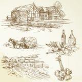 Landelijk landschap, landbouw, oude watermill Royalty-vrije Stock Afbeelding