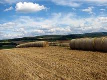 Landelijk landschap met balen van hooi stock foto's