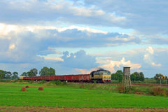 Landelijk landschap met goederentrein royalty-vrije stock afbeeldingen
