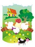 Landelijk landschap met landbouwbedrijfdieren. Stock Fotografie