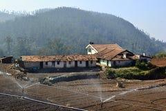 Landelijk landschap met landbouwgebieden, watersproeiers en gebouwen Royalty-vrije Stock Foto