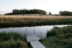 Landelijk landschap met rivier en gebied Royalty-vrije Stock Afbeelding