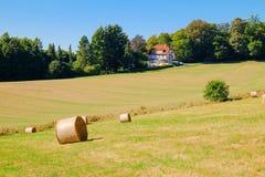 Landelijk landschap met rollen van hooi op het landbouwgebied en Royalty-vrije Stock Afbeeldingen