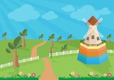 Landelijk landschap met windmolen vector illustratie